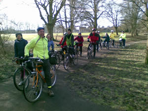 Cyclists at Leavesden Country Park.
