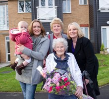 Mrs Eleanor Noble with five generations of family