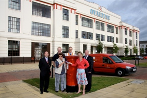 Representatives from the residents assocation, Royal Mail and Three Rivesr District Council with the new post box