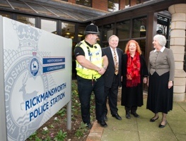 Glenn Hill (Herts Constabulary), Roger Seabourne (Chair of Three Rivers Community Safety Partnership), Ann Shaw (Council Leader) and Sue Warman (Hertfordshire Police Authority)